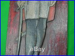 Vintage Carved Wood Wall Plaque Decoration French British Civil War Officer