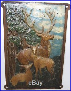 Vintage Cast Iron Hand Painted Elk-Deer-Stag Fireplace Cover Wall Plaque Art