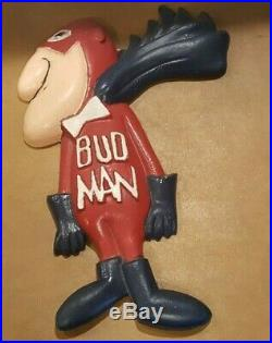 Vintage Cast Metal Bud Man Collectible Budweiser Beer Advertising Wall Plaque