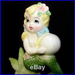 Vintage Ceramic Bradley Mermaid girl on Starfish Wall Plaque