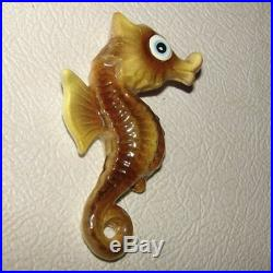 Vintage Ceramic ENESCO SEAHORSE Wall Plaque Hanging g/w Mermaid & Fish