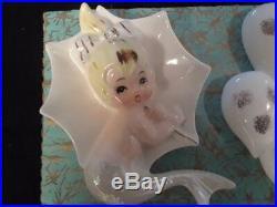 Vintage Ceramic Enesco Mermaid with Unbrella and raindrops Wall Plaque Figuri