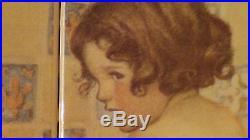 Vintage Ceramic Glazed 6 Tiles Wall Plaque, Mural Bath Decorationbathing Child
