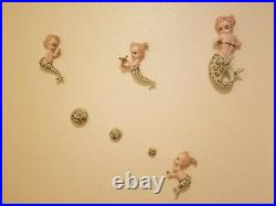 Vintage Ceramic Mermaid Mom And Babies Wall Plaque Hanging