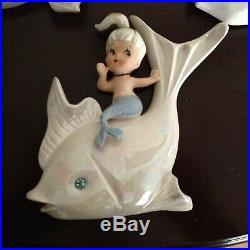Vintage Ceramic Mermaid On Iridescent Fish Bathroom Wall Plaque Figurine Lot 3