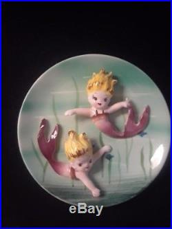 Vintage Ceramic Norcrest Mermaid on Plate Plaque- Mid Century wall plaque