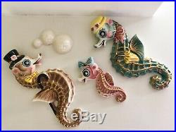 Vintage Ceramic Seahorse Family Wall Plaques Set of 4