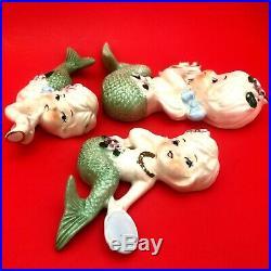 Vintage Ceramic Set Of 3 Mermaids Wall Plaque Figurines