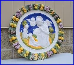 + Vintage Ceramic Wall Plaque of Mary, Jesus and John the Baptist 20 + CU1038