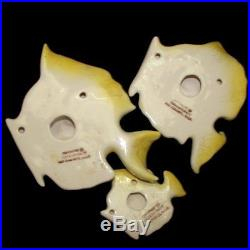 Vintage Ceramicraft 3 Yellow Fish Wall Plaques for Mermaid Bath Decor