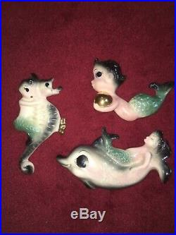 Vintage Ceramicraft Mermaids Wall Plaque Pocket Ceramic Fish Dolphin Girls Lady