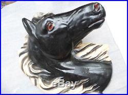 Vintage Chalkware Large Set BLACK HORSE HEAD Wall Hanging Plaque Gun Holster