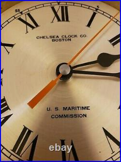 Vintage Chelsea Clock Co. U. S. Navy US Maritime Commission Brass Ship Deck Clock