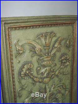 Vintage'Cherubs by the Fountain' Raised Relief Style Ornate Wall Plaque 30x20