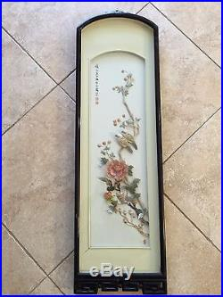 Vintage Chinese Carved Shell Art, Mother of Pearl Wall Plaque, Birds & Flowers