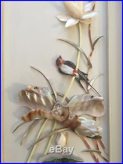 Vintage Chinese Carved Shell Art, Mother of Pearl Wall Plaque, Swallows & Lotus