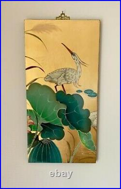 Vintage Chinese Furniture Oriental Art 4 Wall Panel Pictures Plaques 49 x 24 ins