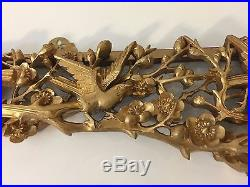 Vintage Chinese Gold Guild Wood Birds & Flowers Wall Plaque, 34 1/2 x 6 1/4