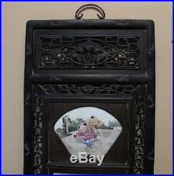 Vintage Chinese Wood & Famille Rose Painted Porcelain Tiles Wall Plaque 48