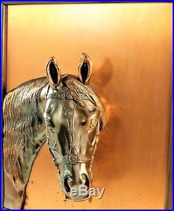 Vintage Copper Horse Head Wall Art Plaque 3D Relief Sculpture Statue Bust