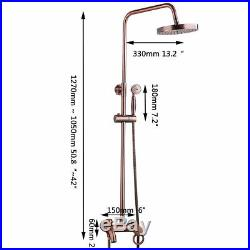 Vintage Copper Rainfall Shower Head Hand Faucet Set Spray Mixer wall mounted