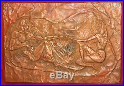 Vintage Copper Wall Decor Plaque Nude Woman & Man