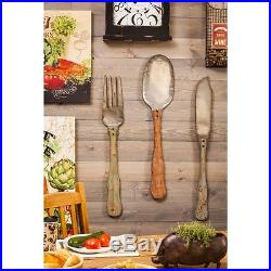 Vintage Country Farm House Cottage Metal Wood Knife Fork Spoon Wall Plaque