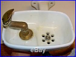 Vintage Crane Porcelain Wall Water Drinking Fountain Bubbler Brass Cast iron