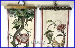 Vintage Cross Stitch Servants Bell Pull Tapestry Wall Hanging Brass Ends Floral