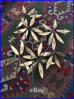 Vintage Curtis Jere Brutalist Metal Brass Flowers Pom Pom Sculpture Wall Art