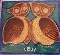 Vintage Danish Soholm Bornholm Stoneware Wall Plaque with Owls J Simon