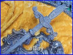 Vintage Decotrative Crossed European Sword Swords Wall Plaque
