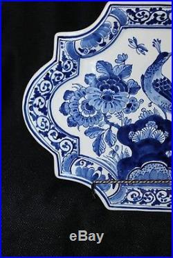 Vintage Delft Porcelain handpainted Peacock plate wall plaque