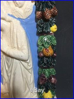 Vintage Della Robbia Madonna in Adoration Holy Child Ceramic Wall Plaque