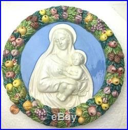 Vintage Della Robbia Majolica Wall Plaque Madonna & Christ Child Art Pottery