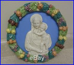 Vintage Della Robbia Robia Italy 11 3/4 Madonna & Child Wall Plaque Pottery