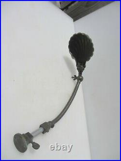 Vintage Desk Light Sconce Lamp Shell Shade Wall Brass & Iron Antique Art Deco