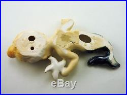 Vintage Doll Like Mermaid Pair Holding Gold Starfish Hanging Wall Plaque Japan