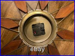 Vintage ELGIN MCM Mid Century Gold, Brass, Teak Starbust Sunburst Wall Clock
