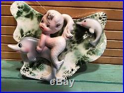 Vintage ENESCO MERMAID GIRL DOLPHINS Ceramic Wall Plaque Hanging