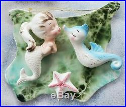 Vintage ENESCO MERMAID GIRL ON DOLPHIN Fish Ceramic Wall Plaque Hanging