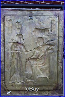 Vintage Egyptian Wall Sculpture Plaque Metal Embossed Copper Silver Brass 26