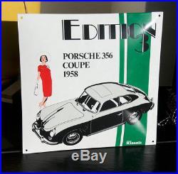 Vintage Enamel Automobile Car Wall Sign / Plaque # Porsche 356 Coupe1958
