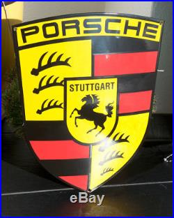 Vintage Enamel Automobile Car Wall Sign / Plaque # Porsche Stuttgart