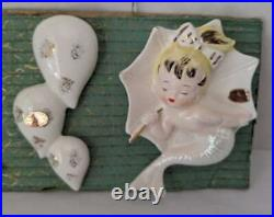 Vintage Enesco Mermaids With Umbrellas Hanging Wall Plaques NEW
