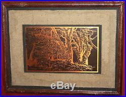 Vintage Engraved Copper Wall Decor Plaque Landscape