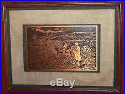 Vintage Engraved Copper Wall Decor Plaque Landscape Field Workers