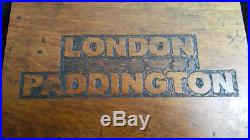 Vintage Engraved Mahogany GWR London Paddington Station Wall/Door Plaque