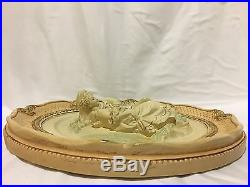 Vintage Esco Productions N. Y. Two French Chalkware Round Wall Plaques