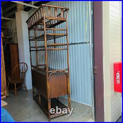 Vintage FICKS REED Faux Bamboo Rattan 6 Drawer Etagere / Wall Unit / Bookcase